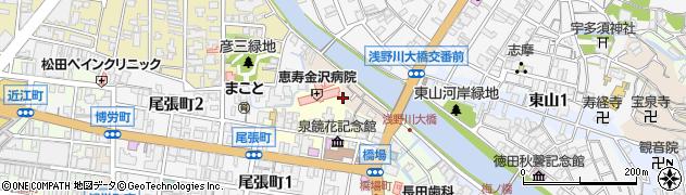 石川県金沢市主計町周辺の地図