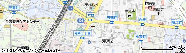石川県金沢市六枚町周辺の地図