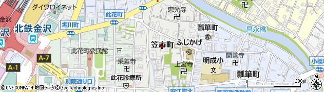 石川県金沢市笠市町周辺の地図