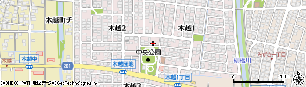 石川県金沢市木越周辺の地図