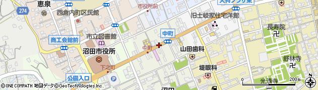 群馬県沼田市中町周辺の地図