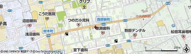群馬県沼田市西原新町周辺の地図