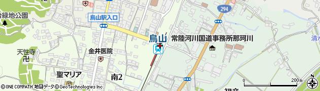栃木県那須烏山市周辺の地図