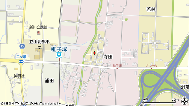 〒930-0209 富山県中新川郡立山町寺田ことぶき町の地図