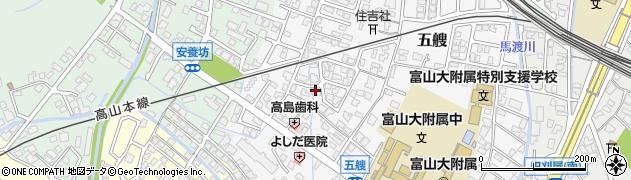 富山県富山市五艘周辺の地図