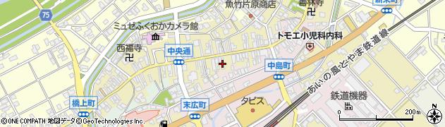 富山県高岡市中町周辺の地図