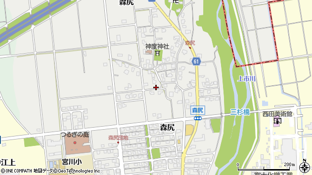〒930-0304 富山県中新川郡上市町森尻の地図