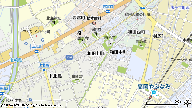〒933-0828 富山県高岡市和田上町の地図