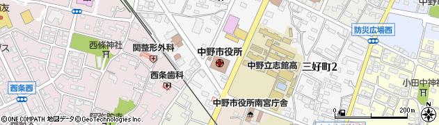 長野県中野市周辺の地図