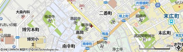 富山県高岡市鴨島町周辺の地図