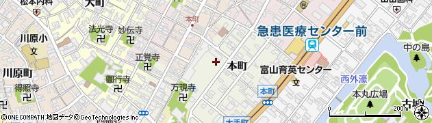 富山県高岡市本町周辺の地図