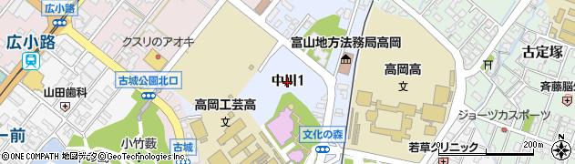 富山県高岡市中川周辺の地図