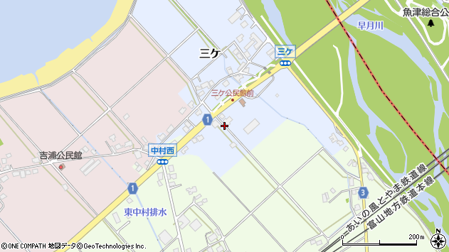 〒936-0001 富山県滑川市三ケの地図