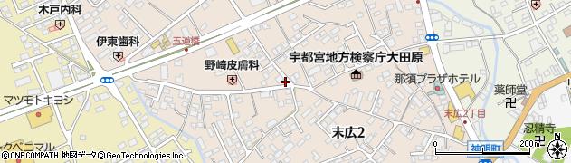 栃木県大田原市末広周辺の地図