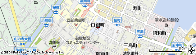 石川県七尾市白銀町周辺の地図