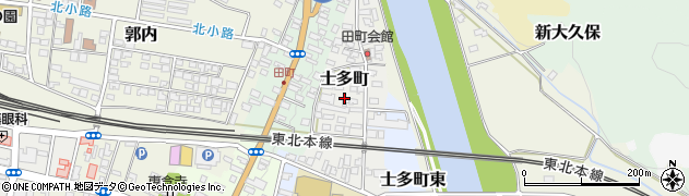 福島県白河市士多町周辺の地図