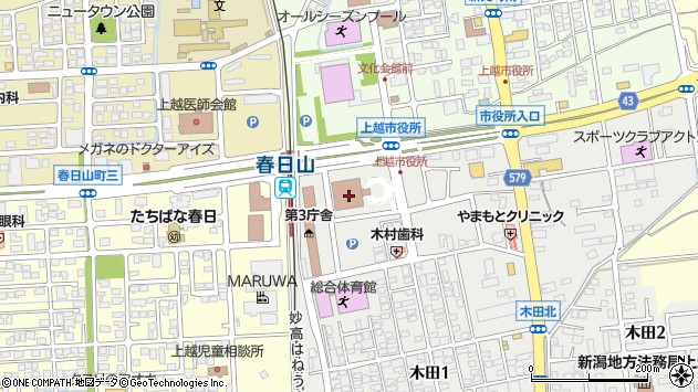 〒943-0000 新潟県上越市(以下に掲載がない場合)の地図