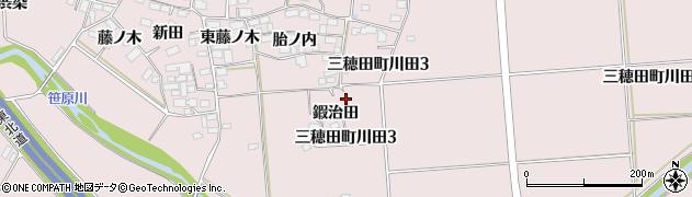 福島県郡山市三穂田町川田(鍜治田)周辺の地図