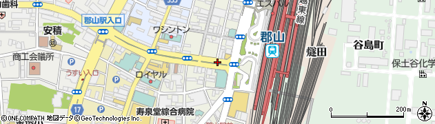 福島県郡山市駅前周辺の地図
