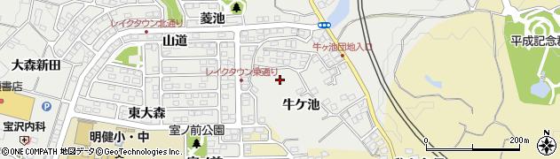 福島県郡山市富久山町八山田(牛ケ池)周辺の地図