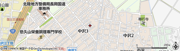 新潟県長岡市中沢周辺の地図