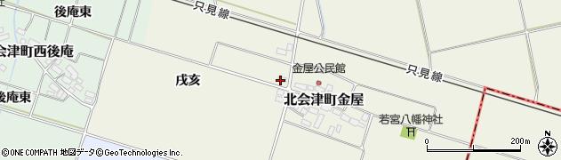 福島県会津若松市北会津町金屋(戌亥)周辺の地図