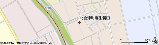 福島県会津若松市北会津町麻生新田(新田前)周辺の地図