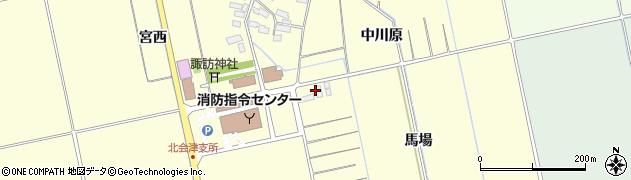 福島県会津若松市北会津町中荒井(馬場)周辺の地図