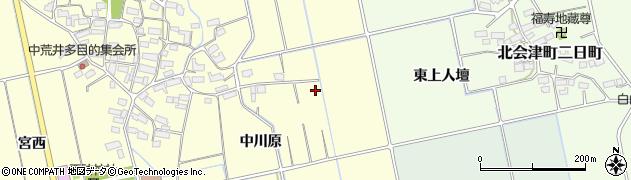 福島県会津若松市北会津町中荒井(中川原)周辺の地図