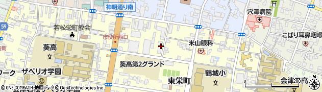 福島県会津若松市周辺の地図