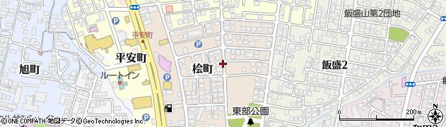 福島県会津若松市桧町周辺の地図