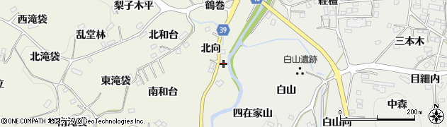 福島県福島市飯野町明治(北向)周辺の地図