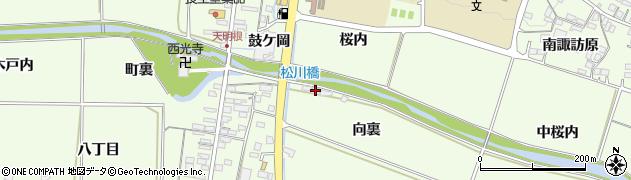 福島県福島市松川町(向裏)周辺の地図