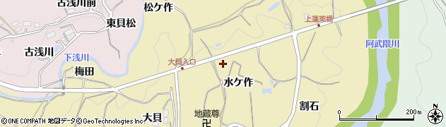 福島県福島市松川町金沢(水ケ作)周辺の地図