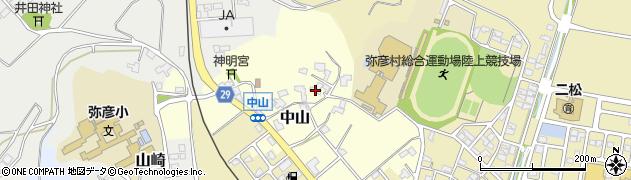 新潟県弥彦村(西蒲原郡)中山周辺の地図