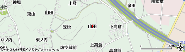 福島県福島市山田周辺の地図