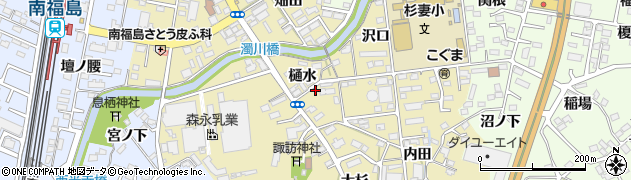 福島県福島市伏拝(樋水)周辺の地図