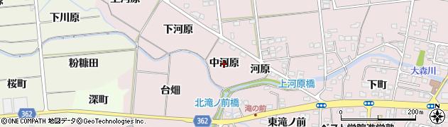 福島県福島市大森(中河原)周辺の地図