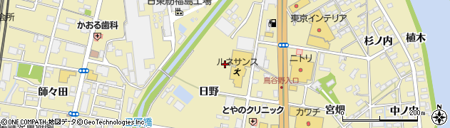 福島県福島市鳥谷野(日野)周辺の地図
