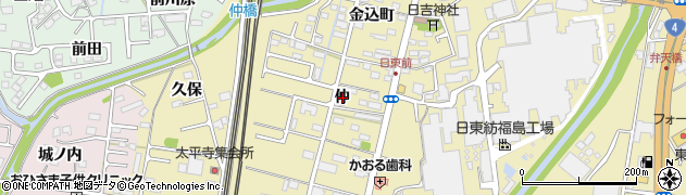 福島県福島市郷野目(仲)周辺の地図