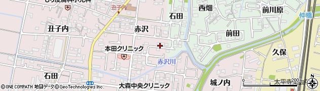 福島県福島市大森(赤沢)周辺の地図