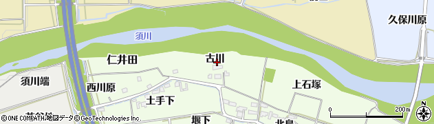 福島県福島市仁井田(古川)周辺の地図