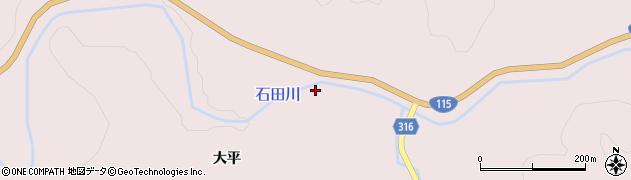 福島県伊達市霊山町石田(橋本)周辺の地図