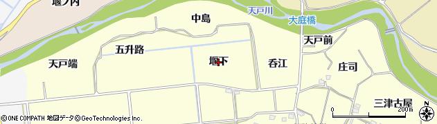 福島県福島市二子塚(堰下)周辺の地図