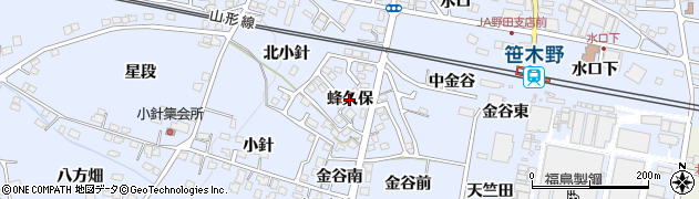 福島県福島市笹木野(蜂久保)周辺の地図