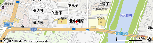 福島県福島市北中川原周辺の地図