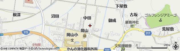 福島県福島市山口(中田)周辺の地図