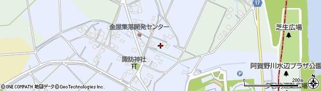 新潟県新潟市秋葉区金屋周辺の地図