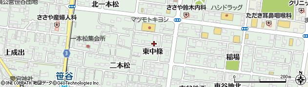福島県福島市笹谷(東中條)周辺の地図