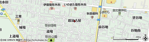 福島県福島市笹谷(鍜治古屋)周辺の地図
